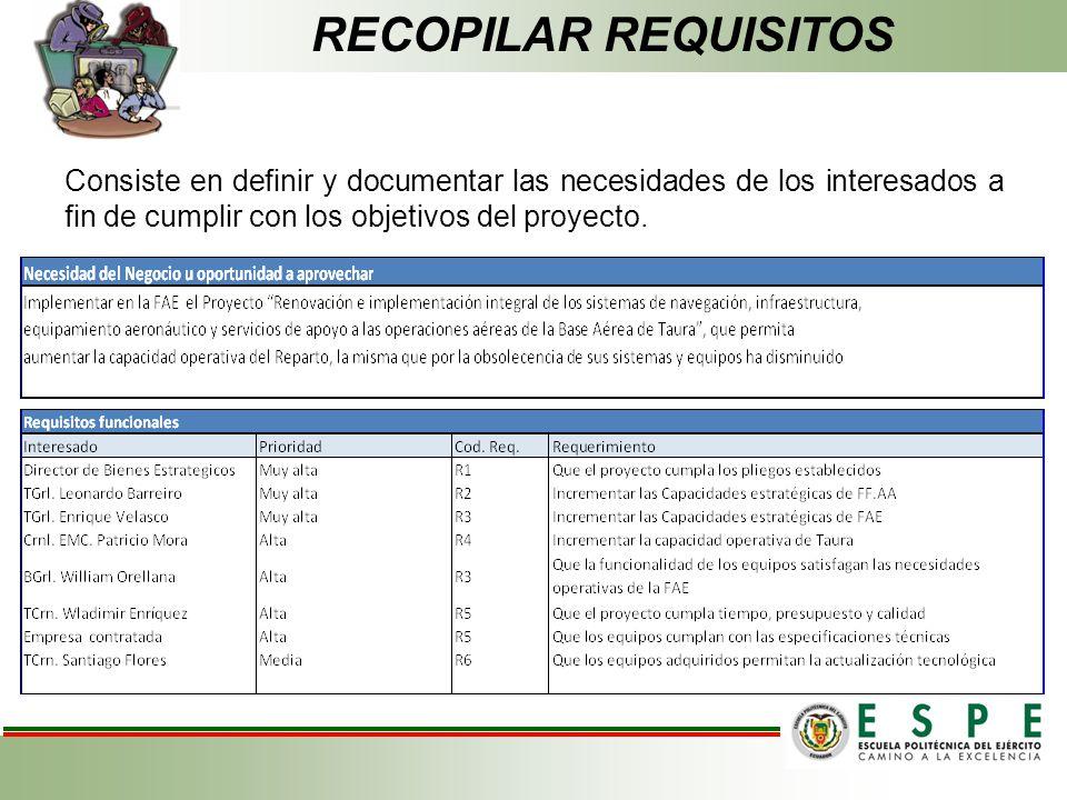 RECOPILAR REQUISITOS Consiste en definir y documentar las necesidades de los interesados a fin de cumplir con los objetivos del proyecto.