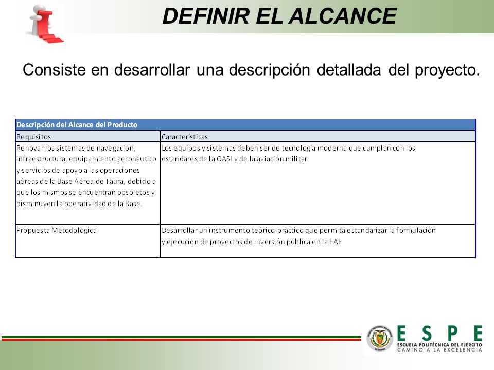 DEFINIR EL ALCANCE Consiste en desarrollar una descripción detallada del proyecto.