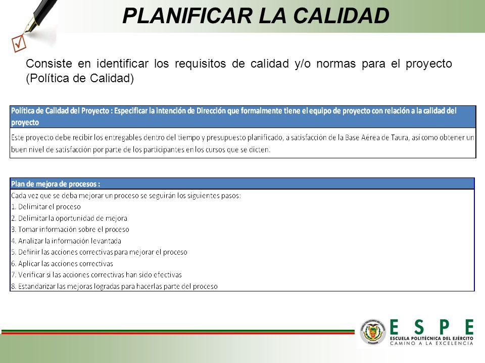 PLANIFICAR LA CALIDAD Consiste en identificar los requisitos de calidad y/o normas para el proyecto (Política de Calidad)