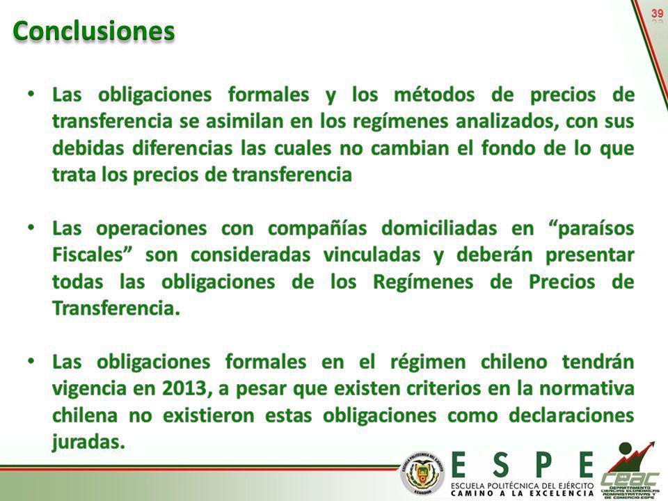 Fuente: Capítulos III y IV del presente documento, Legislación en materia de precios de transferencia