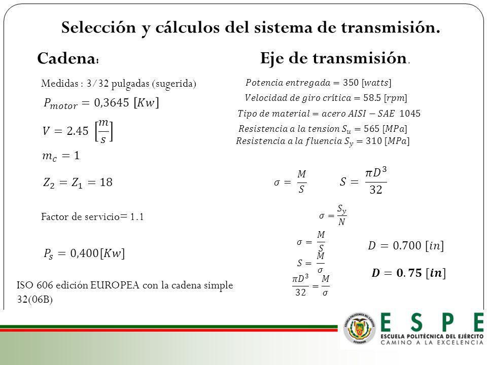 Selección y cálculos del sistema de transmisión.