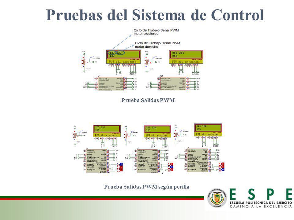 Pruebas del Sistema de Control Prueba Salidas PWM según perilla