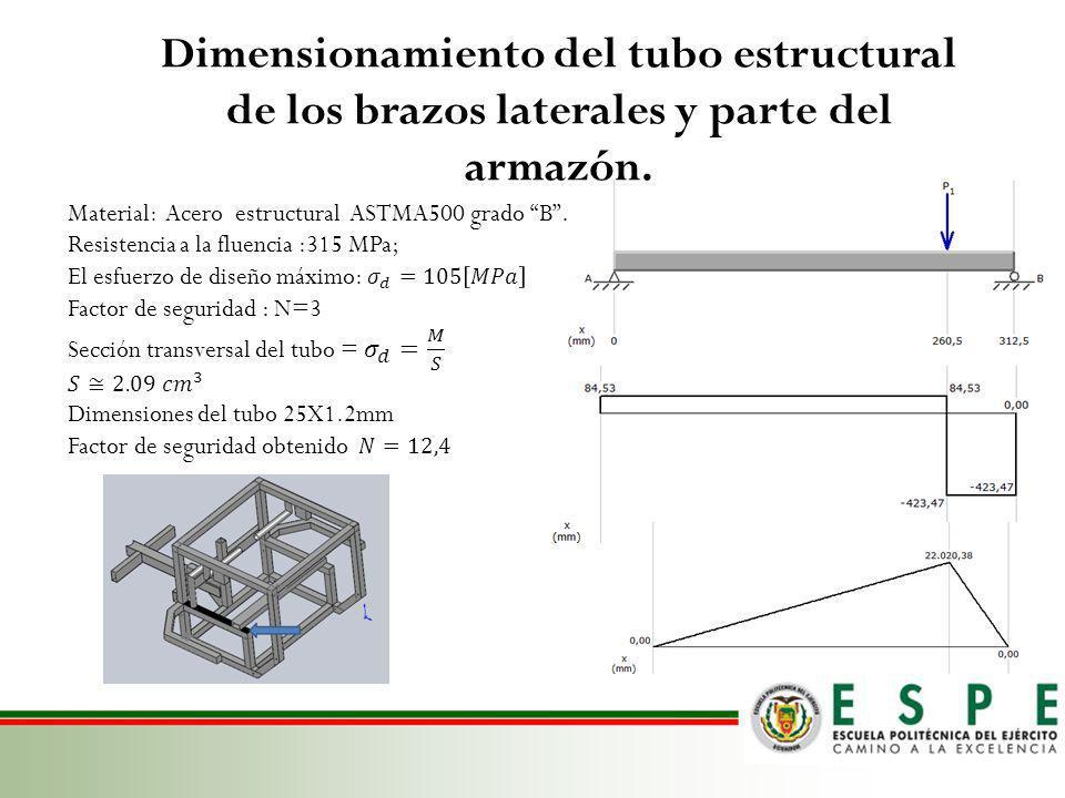 Dimensionamiento del tubo estructural de los brazos laterales y parte del armazón.