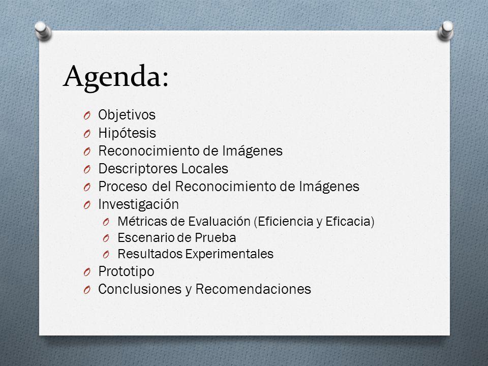 Agenda: Objetivos Hipótesis Reconocimiento de Imágenes