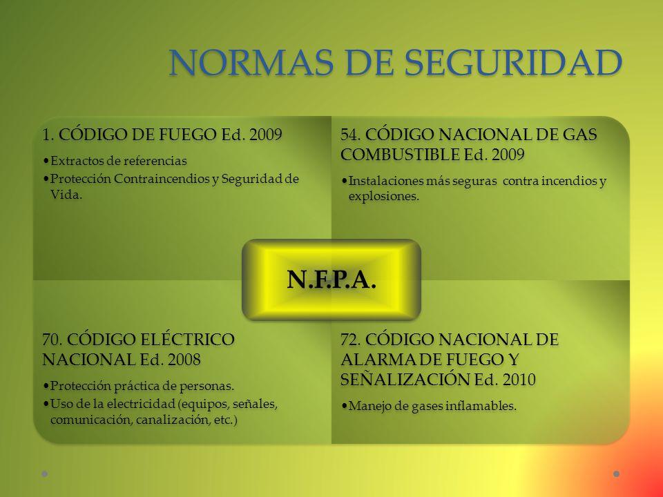 NORMAS DE SEGURIDAD N.F.P.A. 1. CÓDIGO DE FUEGO Ed. 2009