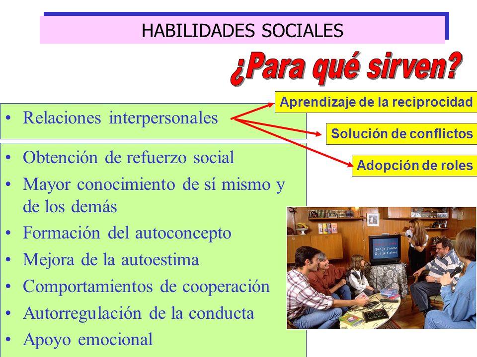 ¿Para qué sirven HABILIDADES SOCIALES Relaciones interpersonales