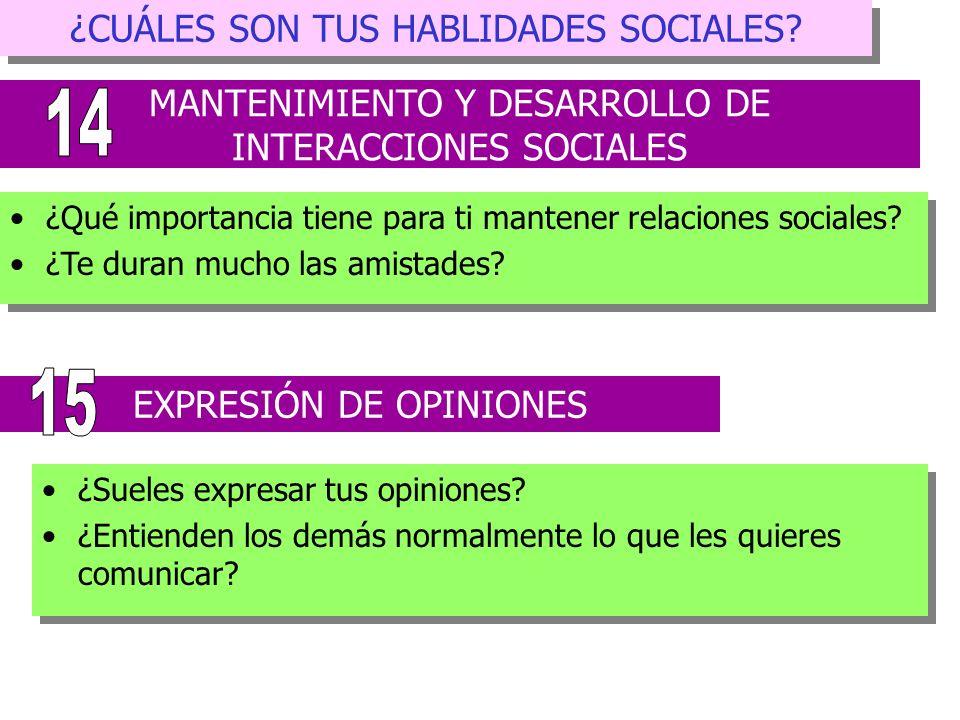 14 15 ¿CUÁLES SON TUS HABLIDADES SOCIALES