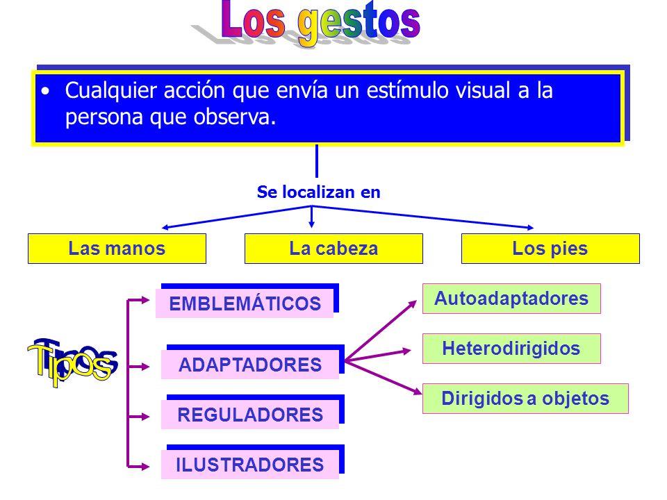 Los gestos Cualquier acción que envía un estímulo visual a la persona que observa. Se localizan en.