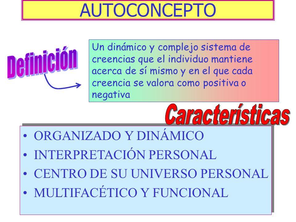 AUTOCONCEPTO Definición Características ORGANIZADO Y DINÁMICO