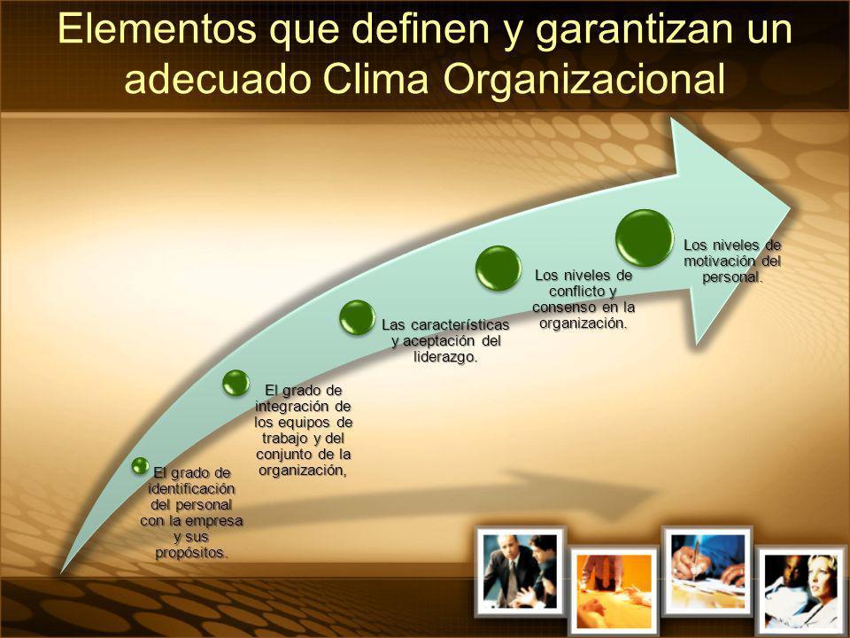 Elementos que definen y garantizan un adecuado Clima Organizacional
