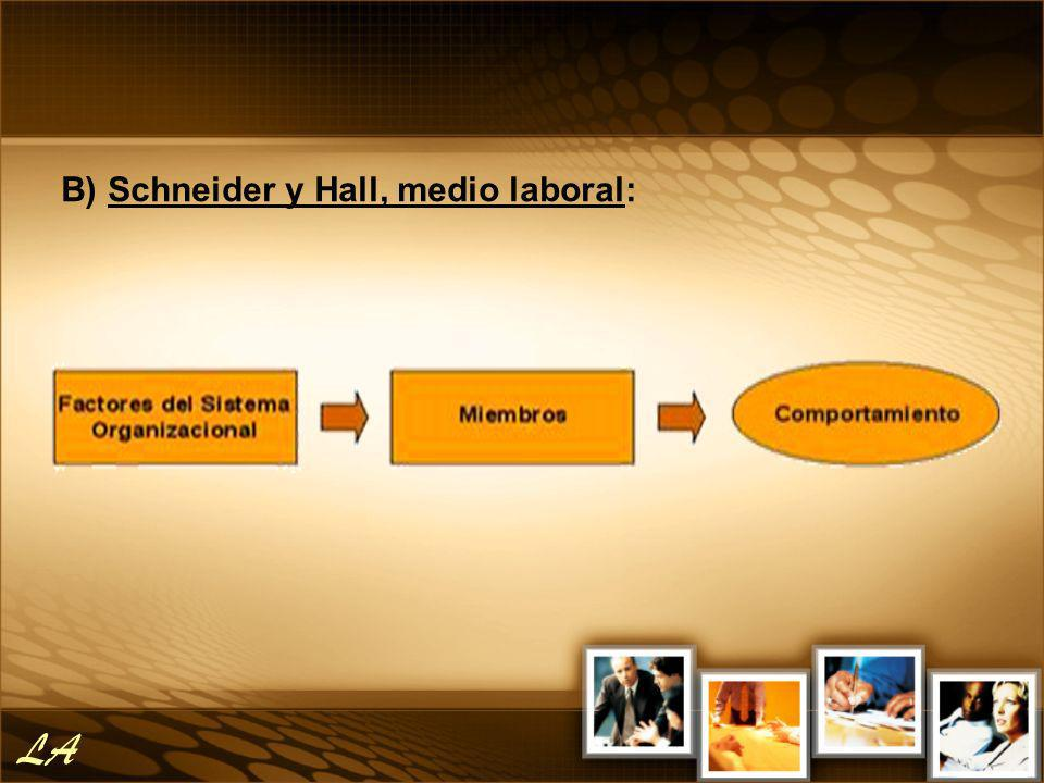B) Schneider y Hall, medio laboral: