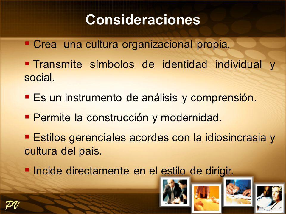 Consideraciones PV Crea una cultura organizacional propia.