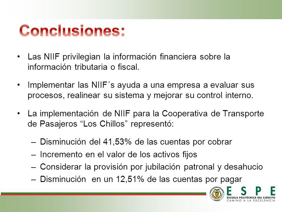 Conclusiones: Las NIIF privilegian la información financiera sobre la información tributaria o fiscal.