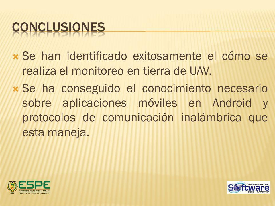 Conclusiones Se han identificado exitosamente el cómo se realiza el monitoreo en tierra de UAV.