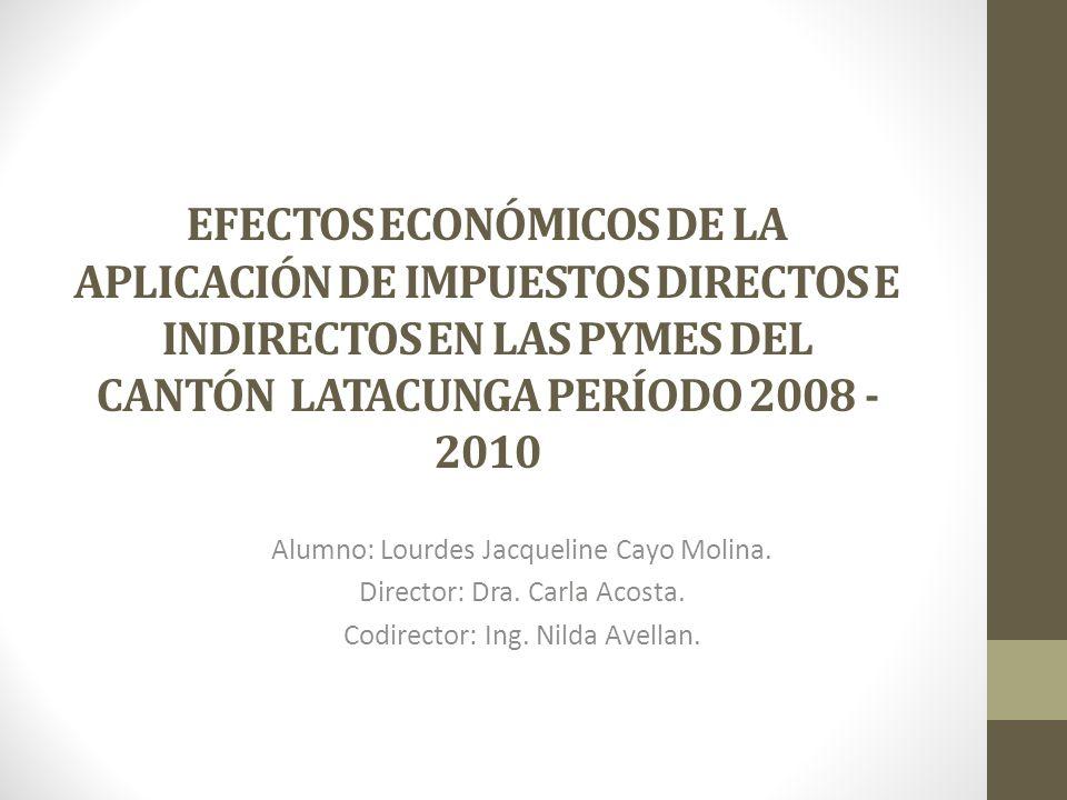 EFECTOS ECONÓMICOS DE LA APLICACIÓN DE IMPUESTOS DIRECTOS E INDIRECTOS EN LAS PYMES DEL CANTÓN LATACUNGA PERÍODO 2008 - 2010