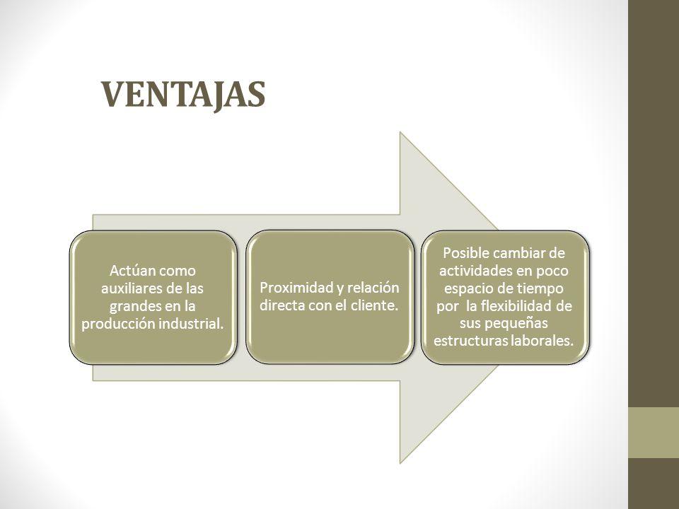 VENTAJAS Actúan como auxiliares de las grandes en la producción industrial. Proximidad y relación directa con el cliente.