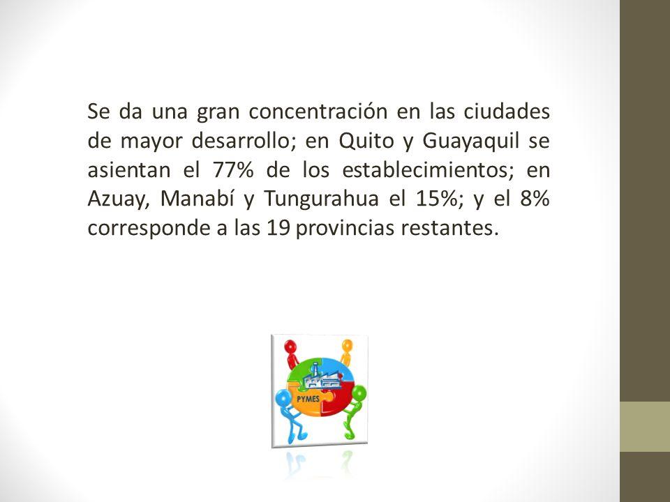 Se da una gran concentración en las ciudades de mayor desarrollo; en Quito y Guayaquil se asientan el 77% de los establecimientos; en Azuay, Manabí y Tungurahua el 15%; y el 8% corresponde a las 19 provincias restantes.