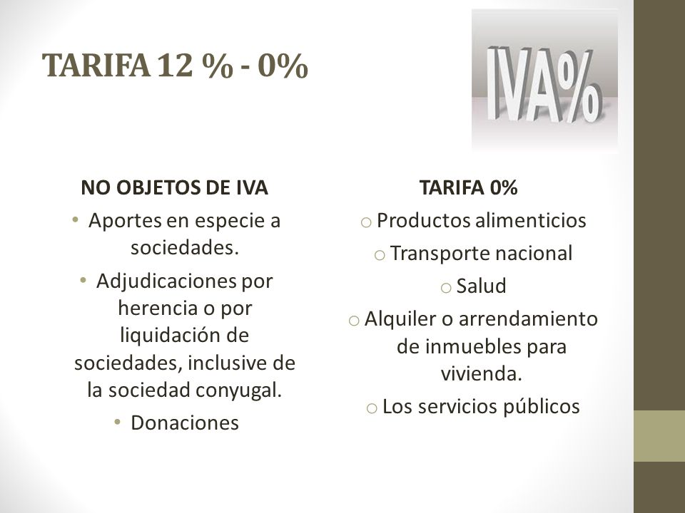 TARIFA 12 % - 0% NO OBJETOS DE IVA Aportes en especie a sociedades.