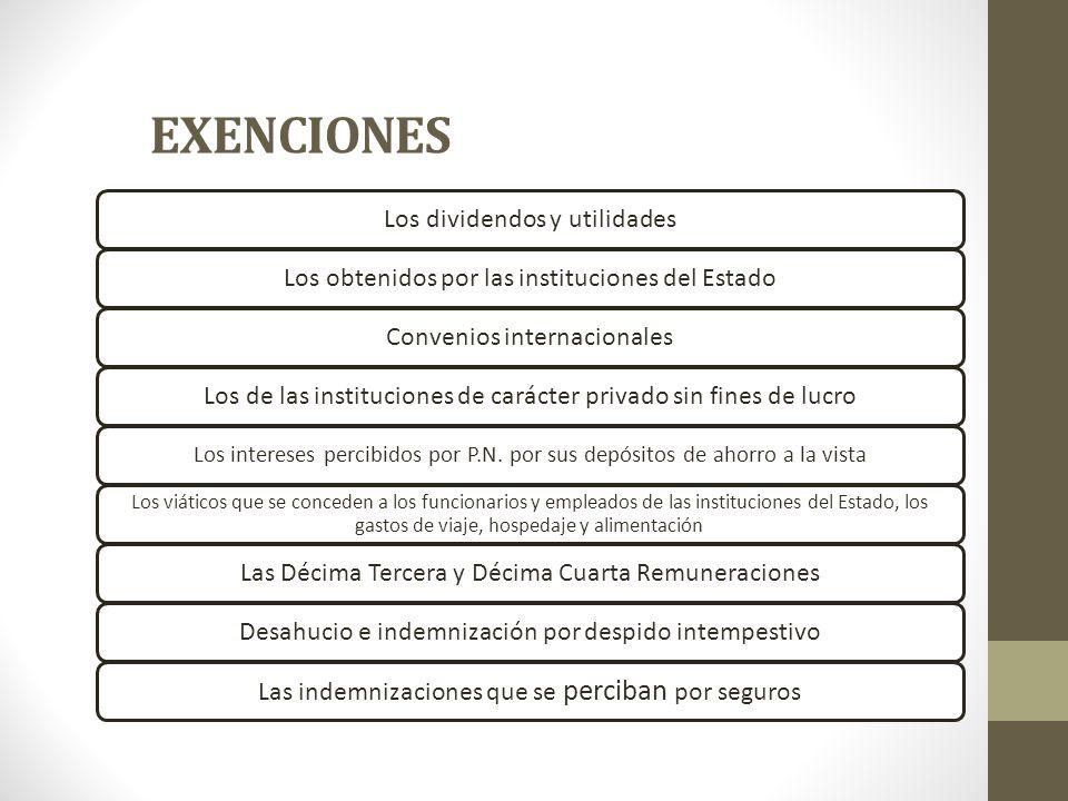 EXENCIONES Los dividendos y utilidades