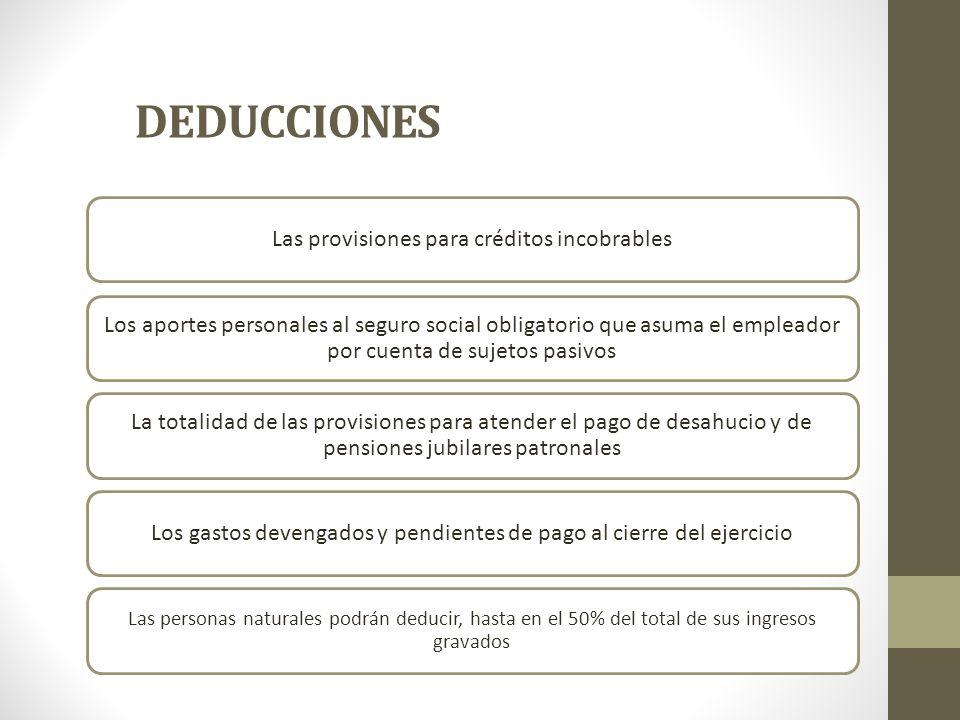 DEDUCCIONES Las provisiones para créditos incobrables
