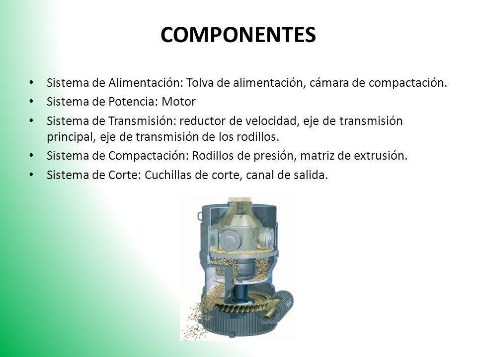 COMPONENTES Sistema de Alimentación: Tolva de alimentación, cámara de compactación. Sistema de Potencia: Motor.