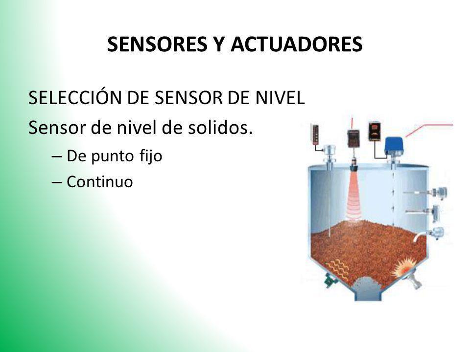 SENSORES Y ACTUADORES SELECCIÓN DE SENSOR DE NIVEL
