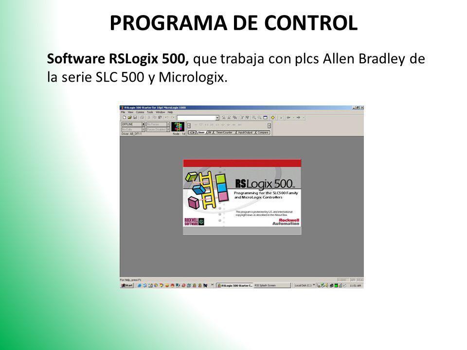 PROGRAMA DE CONTROL Software RSLogix 500, que trabaja con plcs Allen Bradley de la serie SLC 500 y Micrologix.