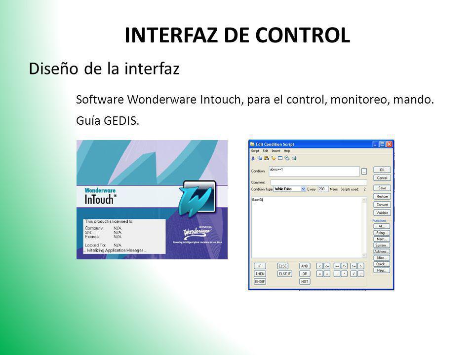INTERFAZ DE CONTROL Diseño de la interfaz. Software Wonderware Intouch, para el control, monitoreo, mando.