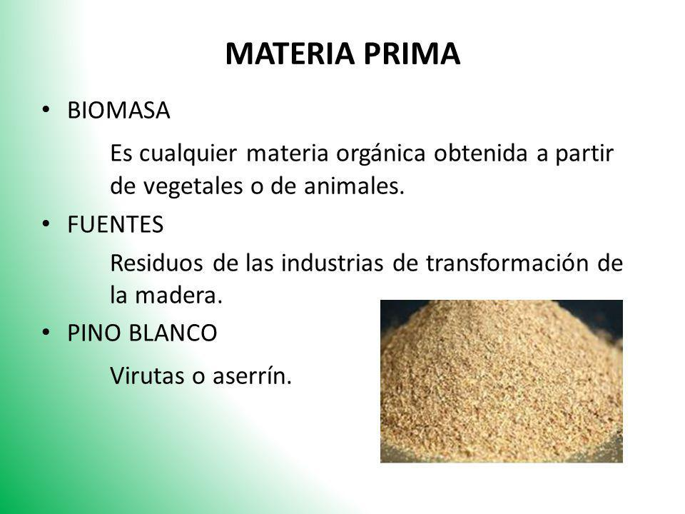 MATERIA PRIMA BIOMASA. Es cualquier materia orgánica obtenida a partir de vegetales o de animales.