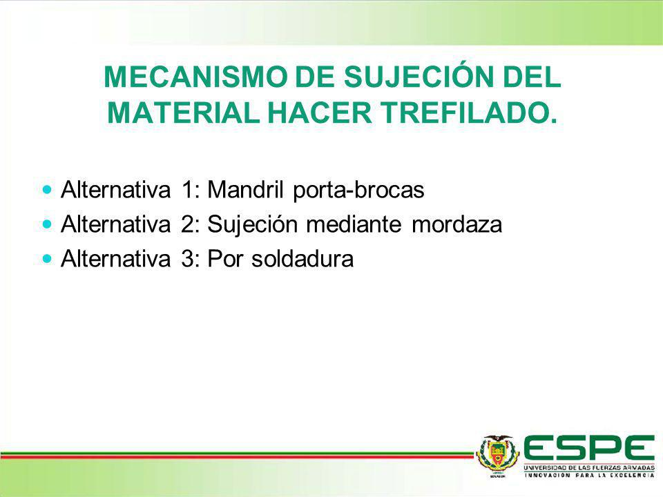 MECANISMO DE SUJECIÓN DEL MATERIAL HACER TREFILADO.