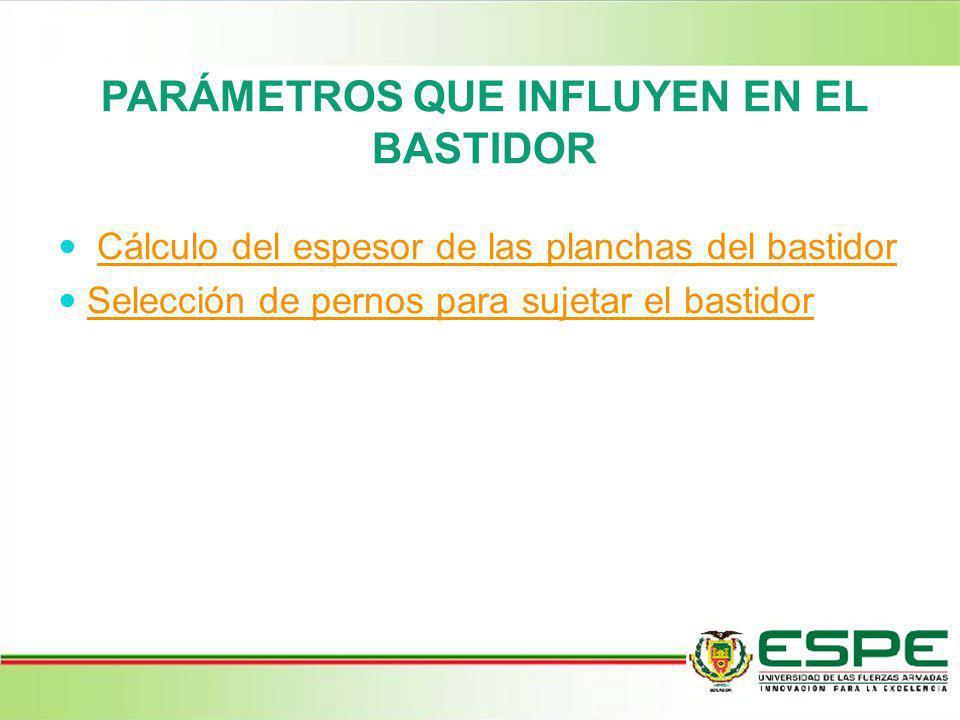 PARÁMETROS QUE INFLUYEN EN EL BASTIDOR