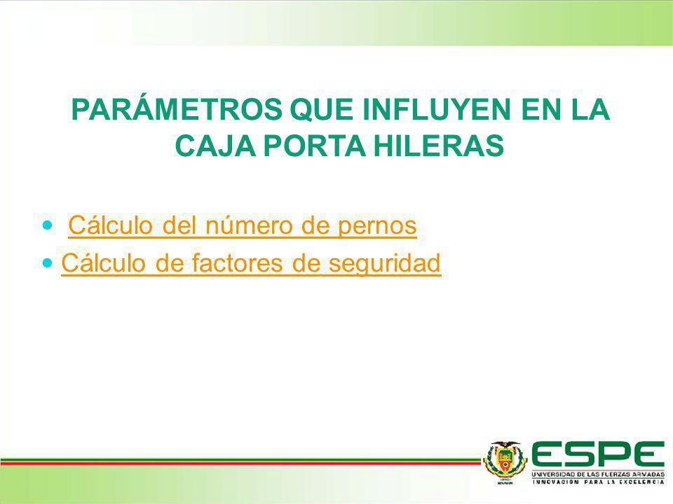 PARÁMETROS QUE INFLUYEN EN LA CAJA PORTA HILERAS