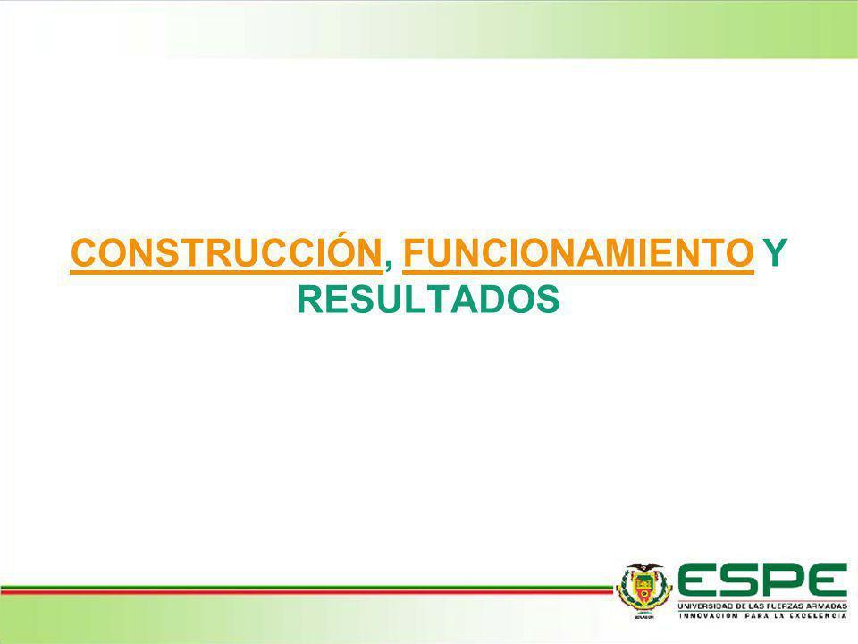 CONSTRUCCIÓN, FUNCIONAMIENTO Y RESULTADOS