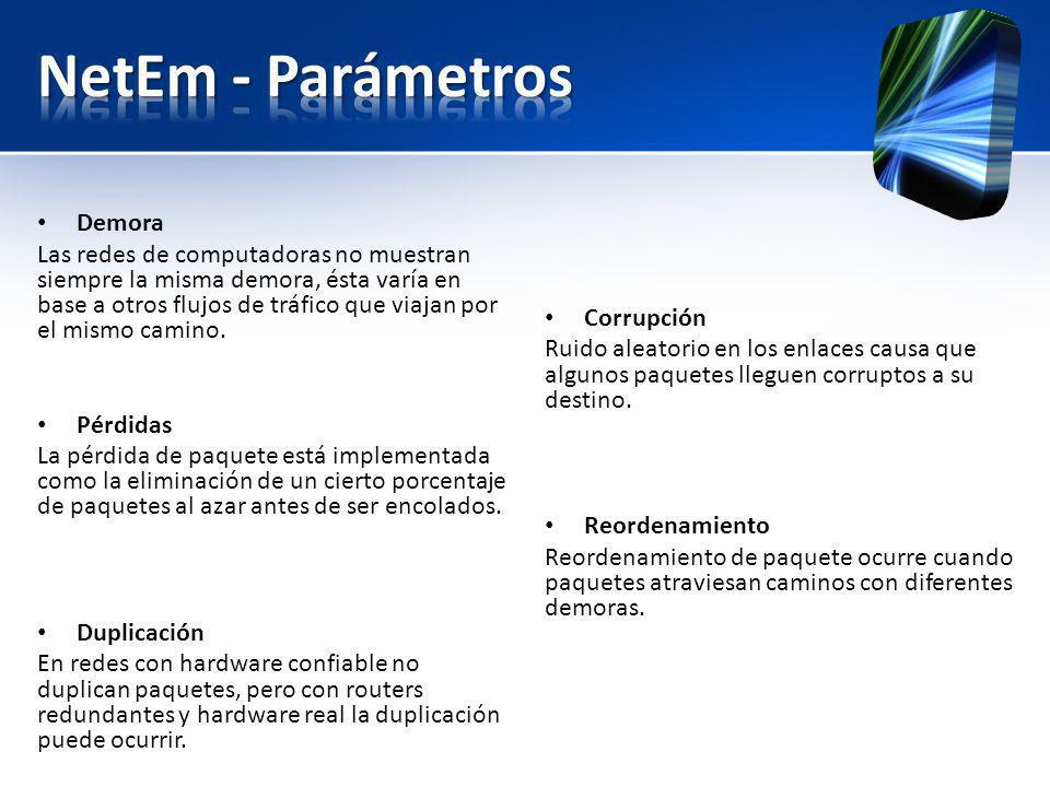NetEm - Parámetros Demora