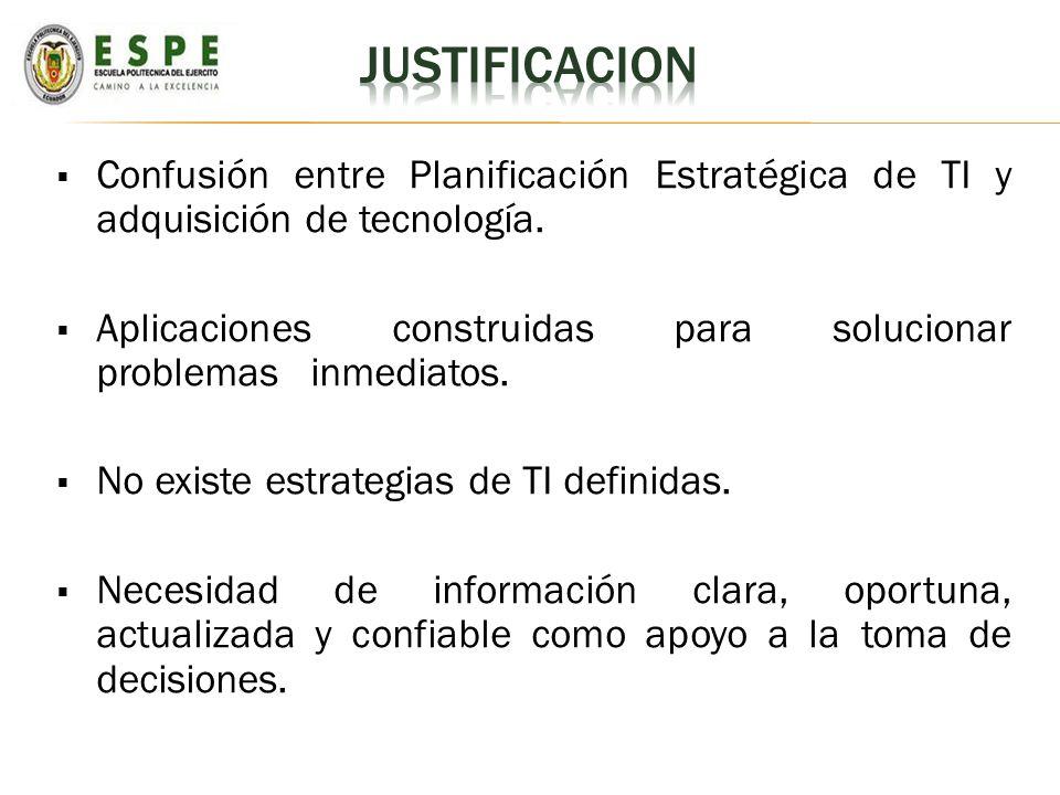 JUSTIFICACION Confusión entre Planificación Estratégica de TI y adquisición de tecnología.