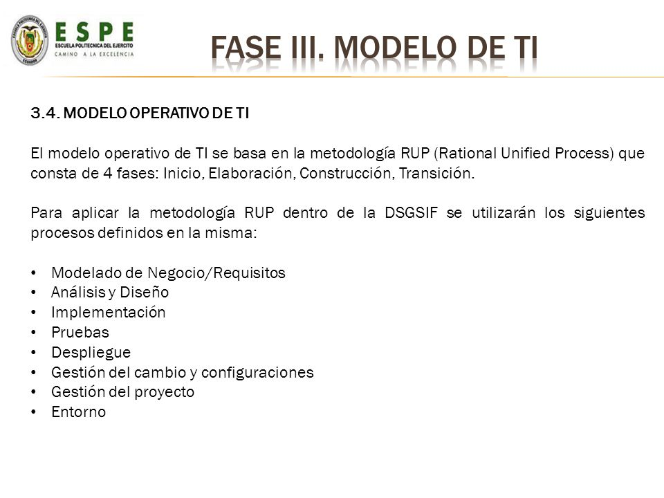 Fase iii. Modelo de ti 3.4. MODELO OPERATIVO DE TI