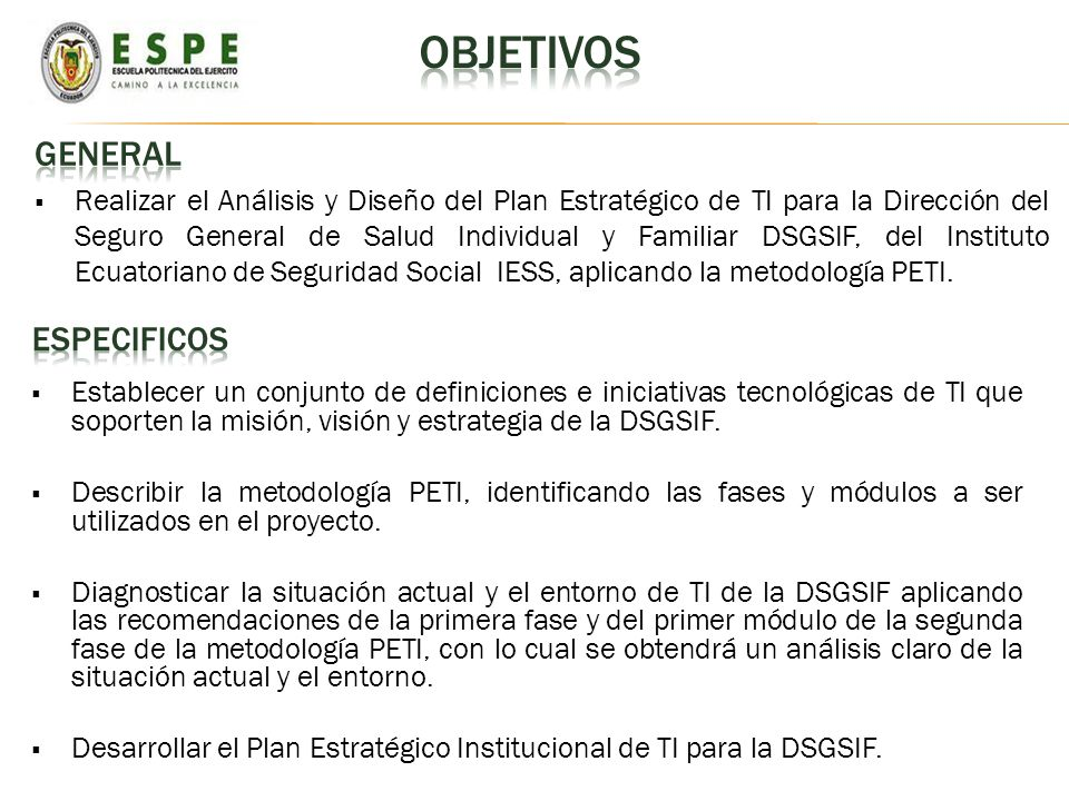 OBJETIVOs GENERAL ESPECIFICOS