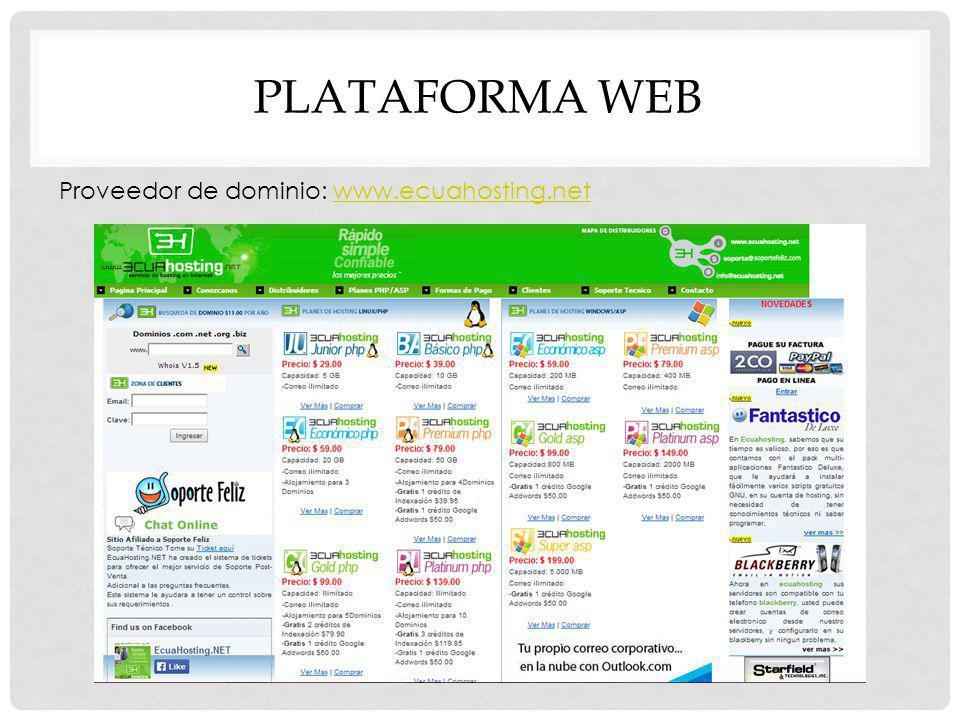 PLATAFORMA WEB Proveedor de dominio: www.ecuahosting.net