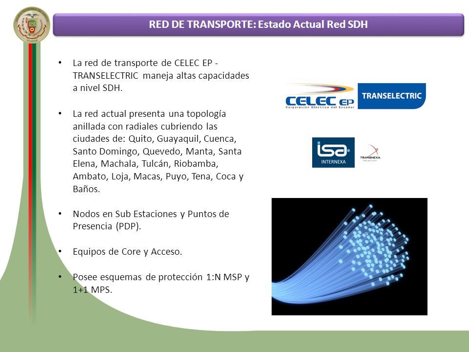RED DE TRANSPORTE: Estado Actual Red SDH