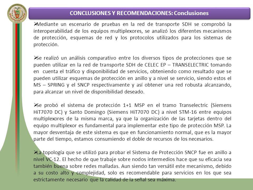 CONCLUSIONES Y RECOMENDACIONES: Conclusiones