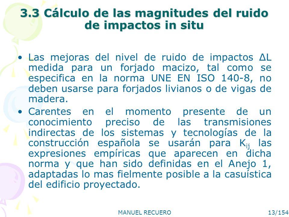 3.3 Cálculo de las magnitudes del ruido de impactos in situ