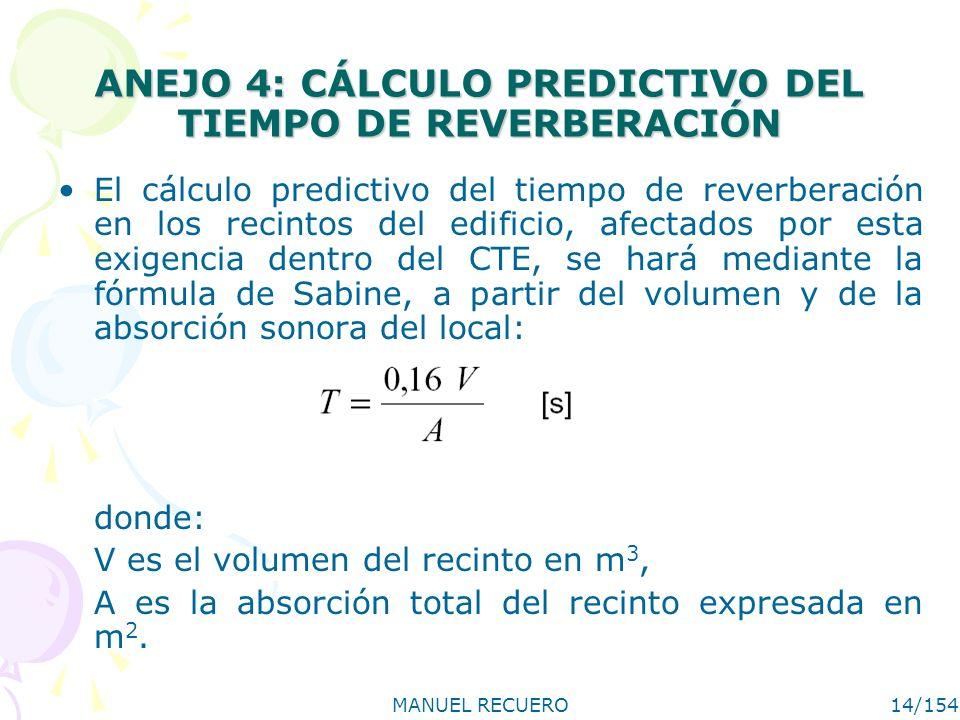 ANEJO 4: CÁLCULO PREDICTIVO DEL TIEMPO DE REVERBERACIÓN