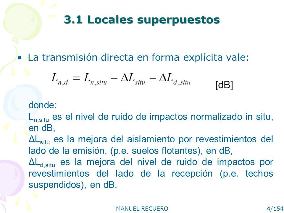 3.1 Locales superpuestosLa transmisión directa en forma explícita vale: donde: Ln,situ es el nivel de ruido de impactos normalizado in situ, en dB,