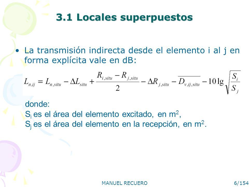 3.1 Locales superpuestosLa transmisión indirecta desde el elemento i al j en forma explícita vale en dB: