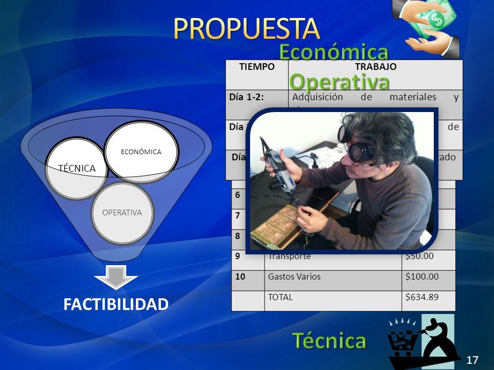 PROPUESTA Económica Operativa Técnica FACTIBILIDAD 17 TIEMPO TRABAJO