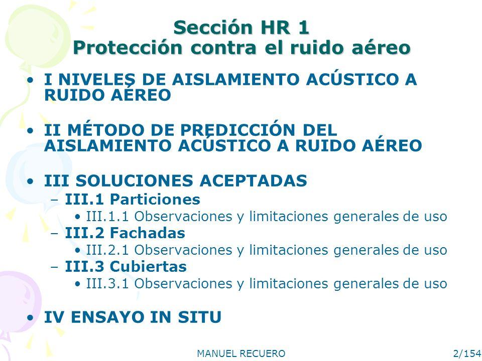 Sección HR 1 Protección contra el ruido aéreo