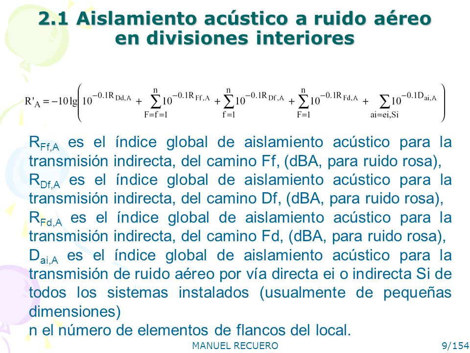 2.1 Aislamiento acústico a ruido aéreo en divisiones interiores