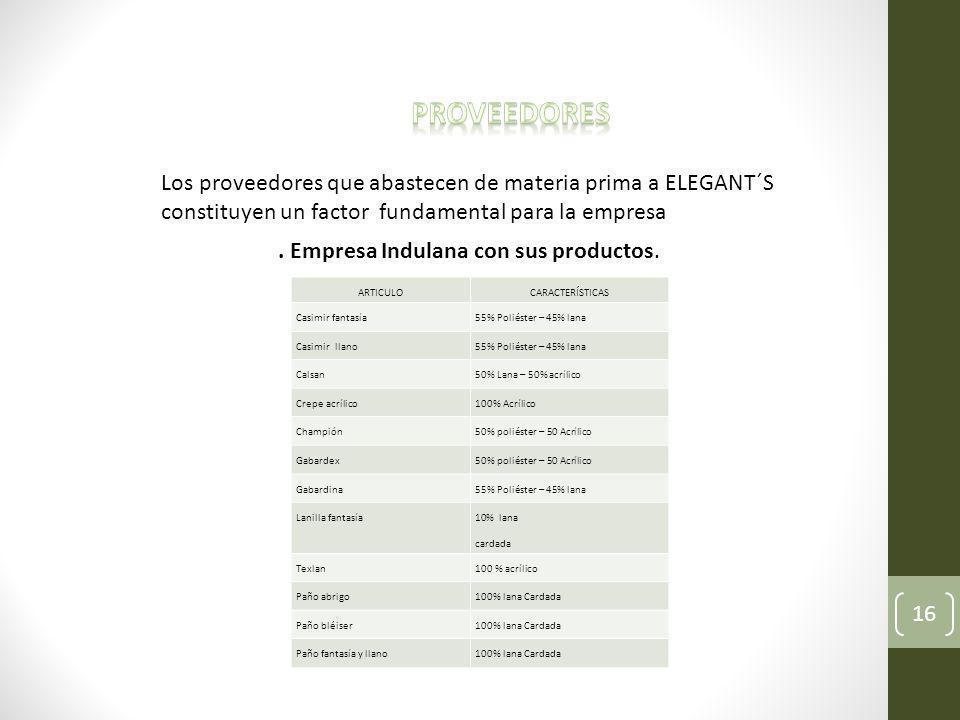 Proveedores Los proveedores que abastecen de materia prima a ELEGANT´S constituyen un factor fundamental para la empresa.