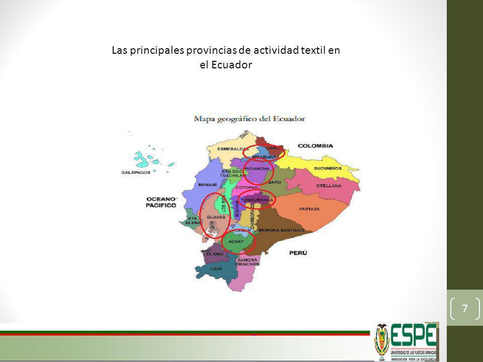 Las principales provincias de actividad textil en el Ecuador