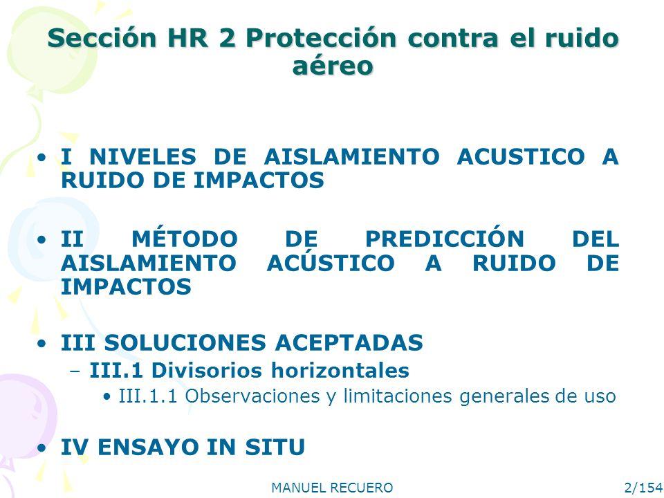 Sección HR 2 Protección contra el ruido aéreo